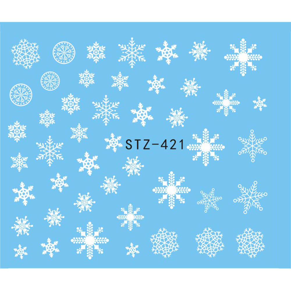 1 Sheet Beauty White Snowflake Decals Winter Styles Water Nail Art Stickers Watermark Fingernails Decals Decoration JISTZ421