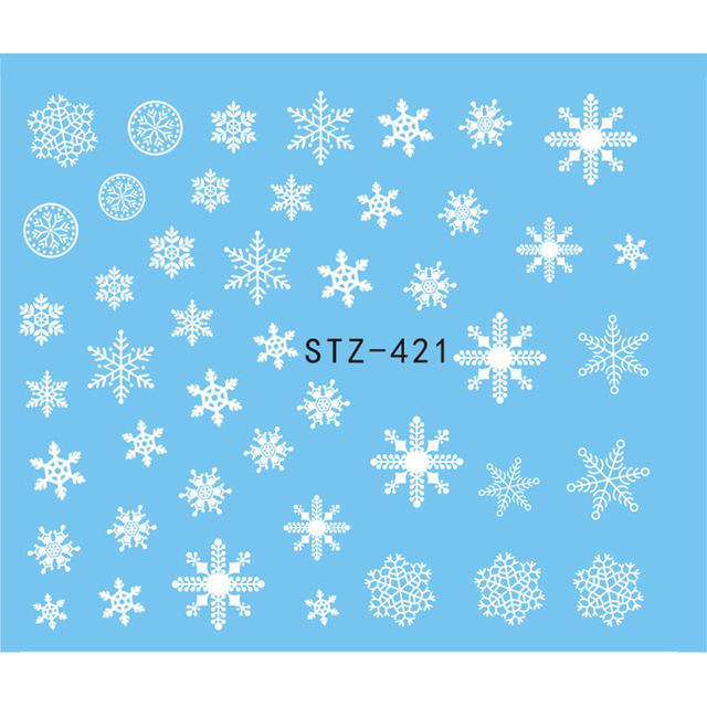1 sheet beauty white snowflake decals winter styles water nail art stickers watermark fingernails decals decoration
