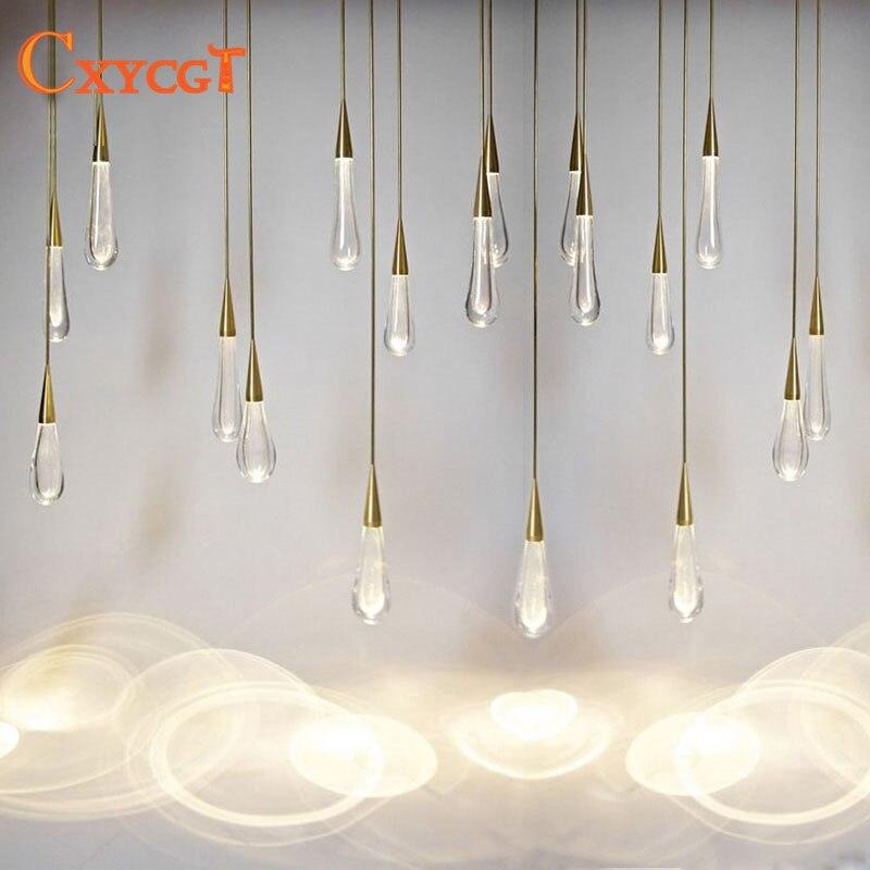 LED Gold Water drop Crystal Pendant Light European style Luxury Lamps Moderm Glass Indoor Lighting Restaurant