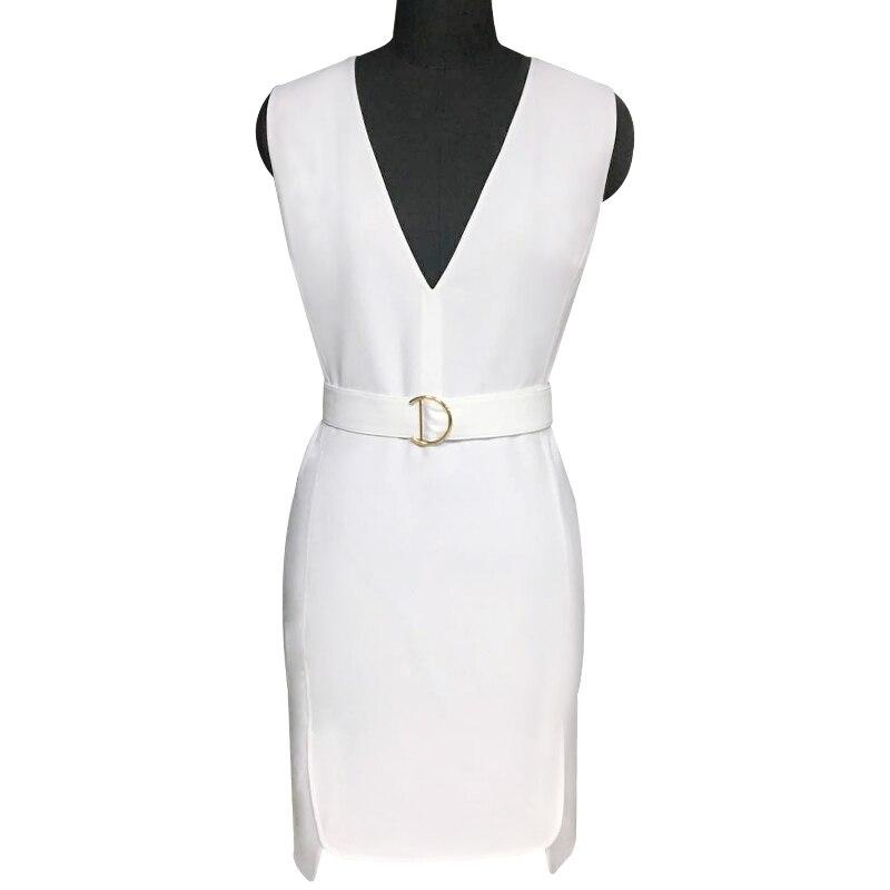 Robe Blanc D'été White Col Sans V De Mode Robe Mince Manches Américain Européen Et HBwXBI