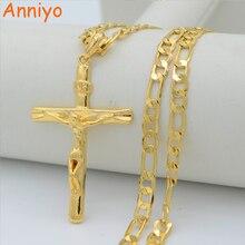 Anniyo крест с надписью INRI кулон ожерелья на цепочке для женщин мужчин, распятие христианство золотой цвет Иисуса из Назарета, короля иудеев#227806