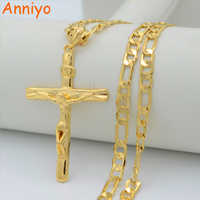 Anniyo INRI Cross Pendant Necklaces Chain Women/Men,Crucifix Christianity Gold Color Jesus of Nazareth,King of the Jews
