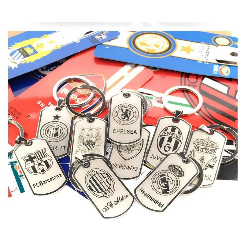 Stainless Steel Keychain Barcelona Real Madrid Arsenal Man City AC Titanium Steel Military Keyring Pendant Fans Custom Logo gift
