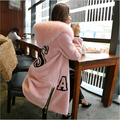 Women's Long Sheep Shearing Fur Coats Winter Real Fox Fur Collar Hooded Zippers Slim One Piece Fur Coat