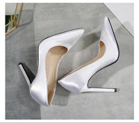 Fashion Satin Shallow Wedding Shoes Elegant Women Pumps Solid Flock Pointed Toe High Heels Shoes Plus size 35 46