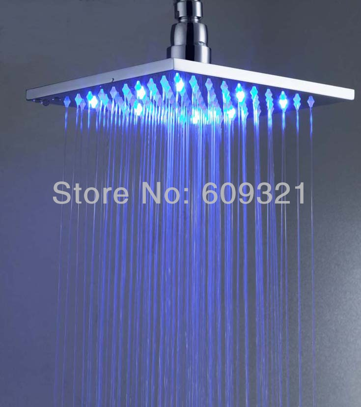 Superfaucet 8INCH Square Brass LED Shower.Rain Shower,Bathroom Shower,Chuveiro LED,Rainfall Shower Head freeshipping brass 10 inch led shower head led shower temperature led water led bathroom faucet shower