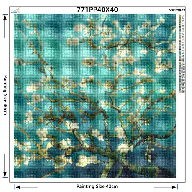 Full Diamond Embroidery World Famous Almond Blossom By Van Gogh Diy Diamond Painting A Craft Decorated