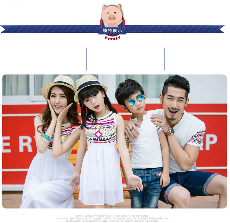 HTB1J1gqbJLO8KJjSZPcq6yV0FXap - Summer Family Matching Outfits Ethnic Style Mother Daughter Beach Dresses Father and Son White T-shirt Family Clothing Sets
