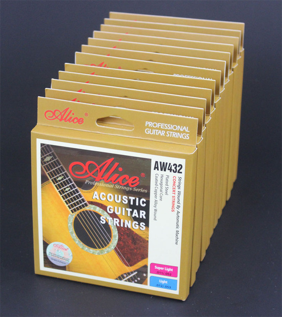 edd3f84741b 12 Sets Alice AW432P Hexagonal Core Coated Copper Alloy Wound Colourful Ball -End Acoustic Guitar Strings