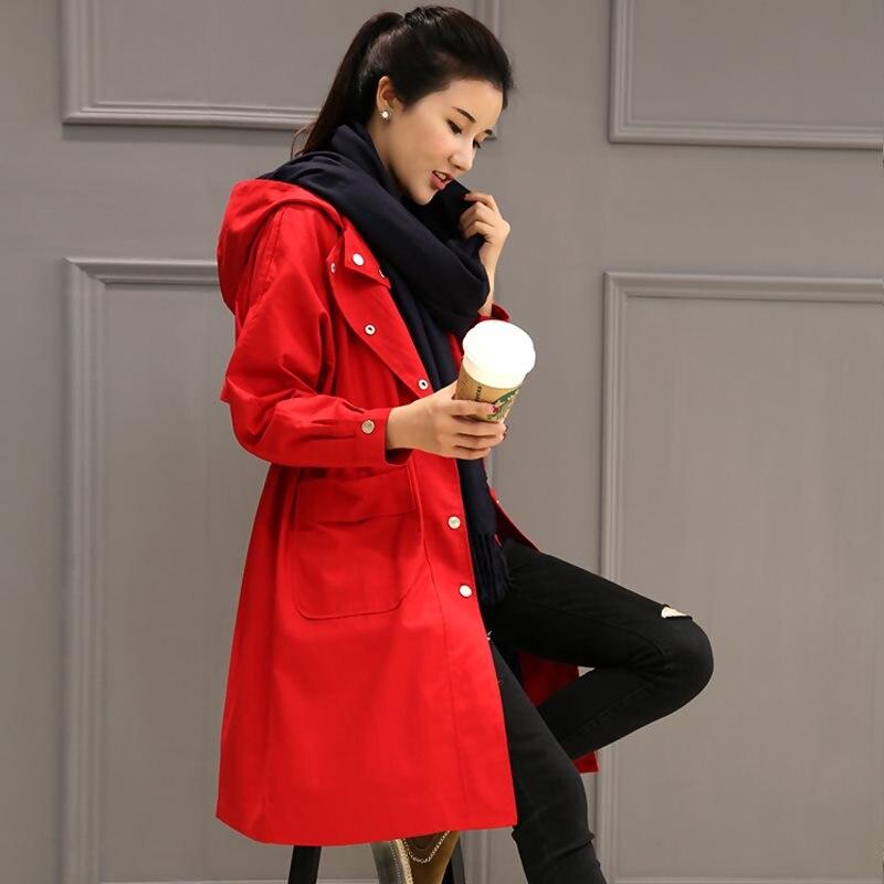 2019 Autumn Woman Hooded   Trench   Coat Single Breasted Spring Women's Coat Outerwear Loose Big pocket Long Windbreaker Female X865