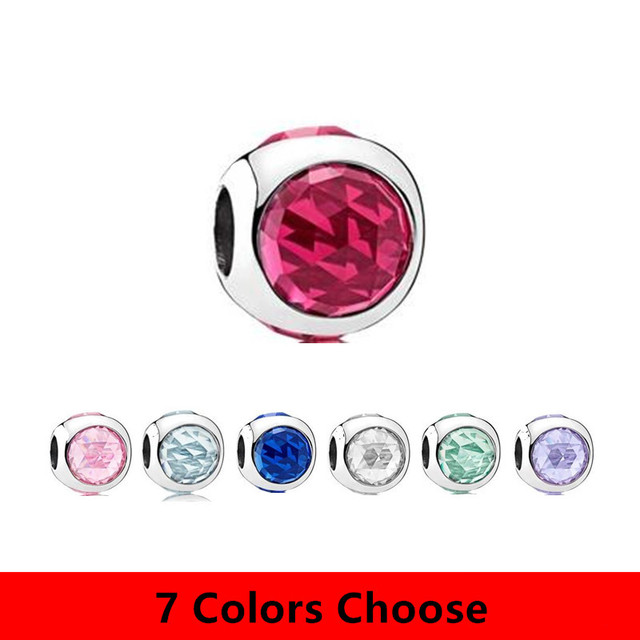 2017 Spring Collection 7 Colors Charm Beads fits for  Bracelet 925 Sterling Silver Round Crystal Charms for DIY Jewelry.