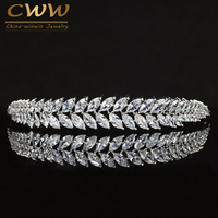CWWZircons Gorgeous Bridal Wedding Hair Accessories Tiara Leaf Shape Cubic Zirconia Crown Headband For Bridesmaid A002