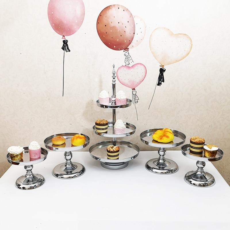 Ensemble de support de gâteau en argent de 5 pièces/ensemble