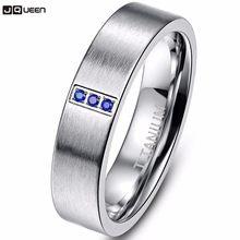77d83242249d Azul Zirconia cristal de alta polaco 6mm hombres mujeres titanio acero  anillo plata anillos de compromiso para el amante de pare.