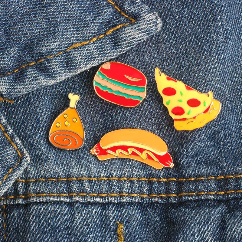 3 ~ 6 pz/set Gatti Del Fumetto Pecore Coniglio Pianta Rose Cactus Frutta Hamburger Pizza Spilla Smalto Spille Distintivo In Metallo Spille per Le Donne