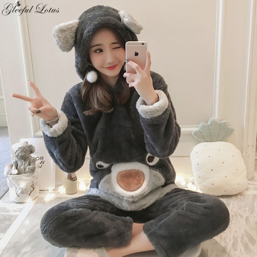 Pyjamas femmes hiver pyjama ensemble Kigurumi Kawaii nuit costume vêtement de nuit en polaire vêtements de nuit chaise longue coréen mignon Pijama maison vêtements
