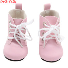 Doll Talk Colors 1 Pair PU Leather Doll Boots For Dolls Short High Heel Booties Shoes For Multi-color Booties America Doll(China)