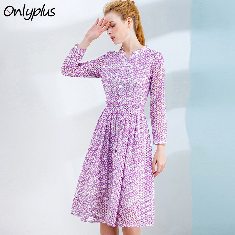 ONLY PLUS S-XXL Vintage Hollow Out Lace Dress Women Elegant Violet Button A-line Holiday Party dresses Polka Dot