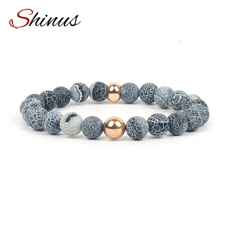 Shinus Bracelet Men Strand Beaded Bracelets Women Chakra Natural Stone Mala Healing Bead Pulsera Masculinas Boho Jewelry Bijoux