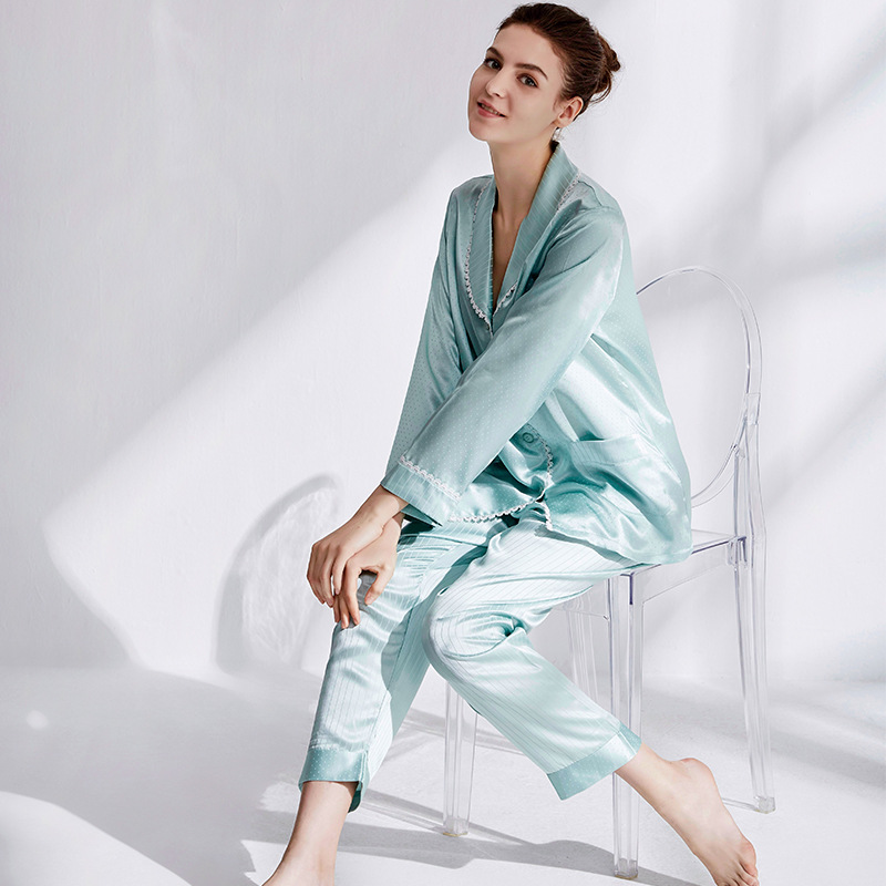 Silk Nightwear Suit 100% Silk Home pajamas  Long Sleeved Trousers 19 m/m