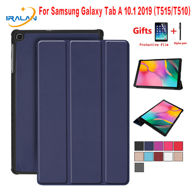 Ultra Slim Flip Stand Magnetic Smart Case For Samsung Galaxy Tab A 10.1 2019 SM-T510 SM-T515 T510 T515 Tablet Cover+Film+Stylus