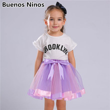 цены на Cute Pink Purple Princess Tutu Skirt 3-8 Years Girls Kids Party Ball Gown Skirts Children Mini Pettiskirt For Dance Clothings  в интернет-магазинах