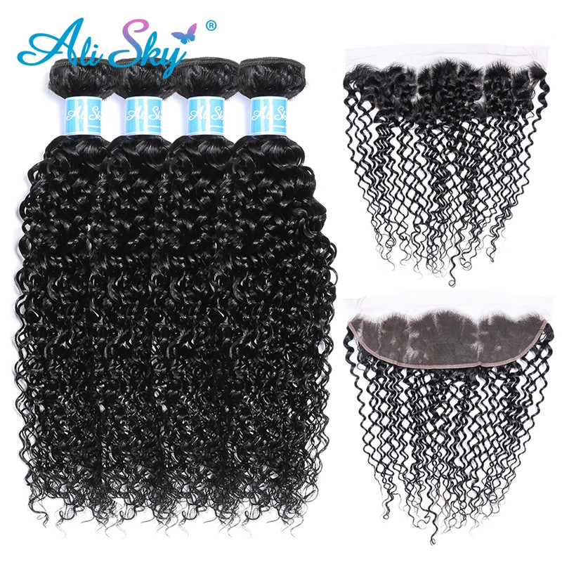 Alisky Hair Brazilian Remy Hair Kinky Curly 4 Bundles With Lace Frontal Closure 13*4 Pre Plucked With Baby Hair Natural Hairline