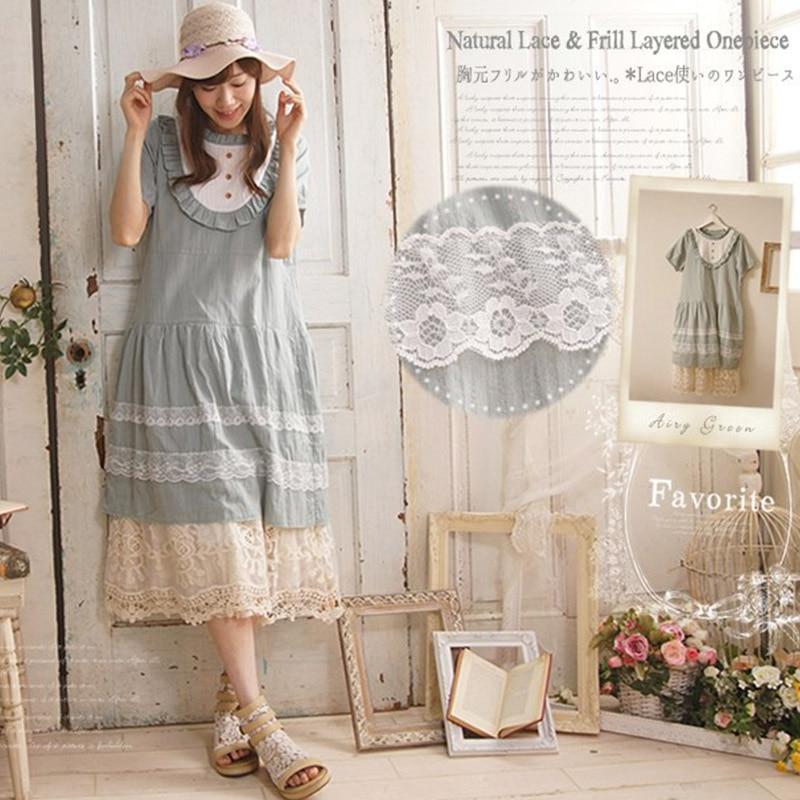 Harajuku Summer Mori Girl Sweet Dress Women Clothing Short Sleeved Lace Patchwork Button Cotton Linen Lovely