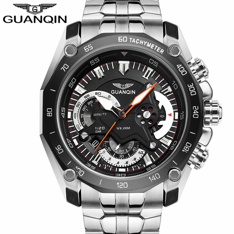 New Men sport Watches Quartz watches Brand GUANQIN  Waterproof Multifunctional Chronograph Military Watches sports wristwatch