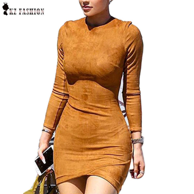 Long Sleeve Slim Party Dress Sexy Brown Vestido Women Spring Dresses Kylie Jenner Skin Tight Suede Bodycon Dresses D61382R