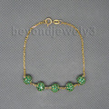 Vintage Solid 18kt Yellow Gold Natural Emerald Bracelet NA0020