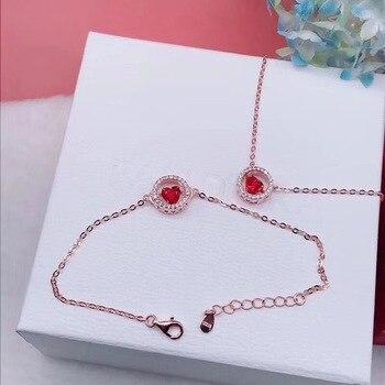 CSHOU43 בסדר נירוסטה שרשרת עגול אדום אהבת נחושת שרשרת