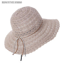 цена на Foldable Cotton Beach Hat With Bow For Women Elegant Fashion Design Beach Hat For Women Hollow Straw lace Sun Hat