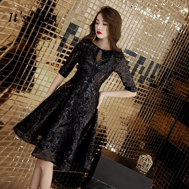 It's YiiYa Cocktail Dress Little Black Bling Sequins Half Sleeve Short Formal Dresses Elegant Party Ball Gown For Girls E011