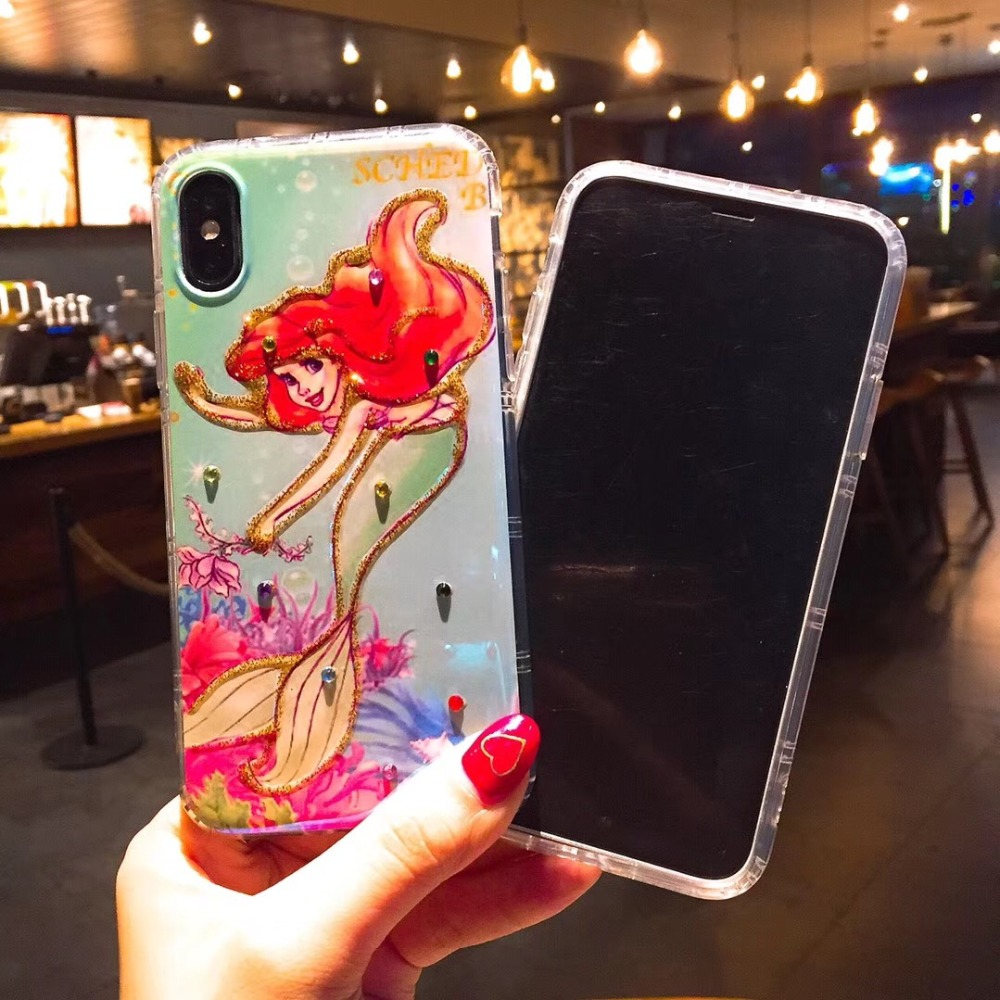 10pcs Luxury Shine Diamonds Cartoon Mermaid Phone Casing Soft TPU Back Cover Case For iPhoneX 8 6s 7plus body Shell Protection