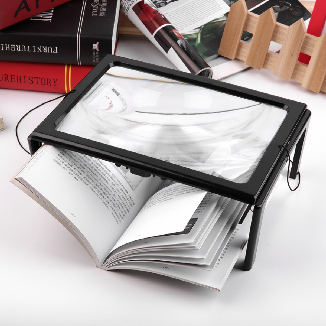 A4 Full Page 3X Table Desk Foldable Magnifying Glass Magnifier Reading Glass+/%