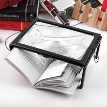 3X Складная увеличительное Стекло лупа для чтения с 4 светодиодный свет ультратонкие A4 всю страницу большой лупа из ПВХ хэндс-фри