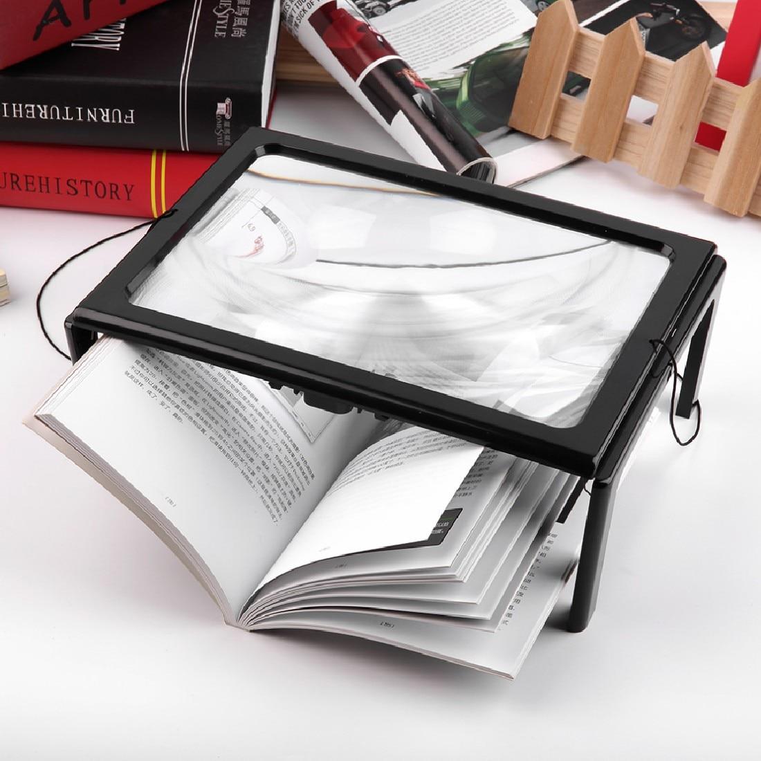 3X Loupe pliable pour la lecture avec 4 lumières de LED ultra-mince A4 pleine Page grande Loupe en PVC mains libres