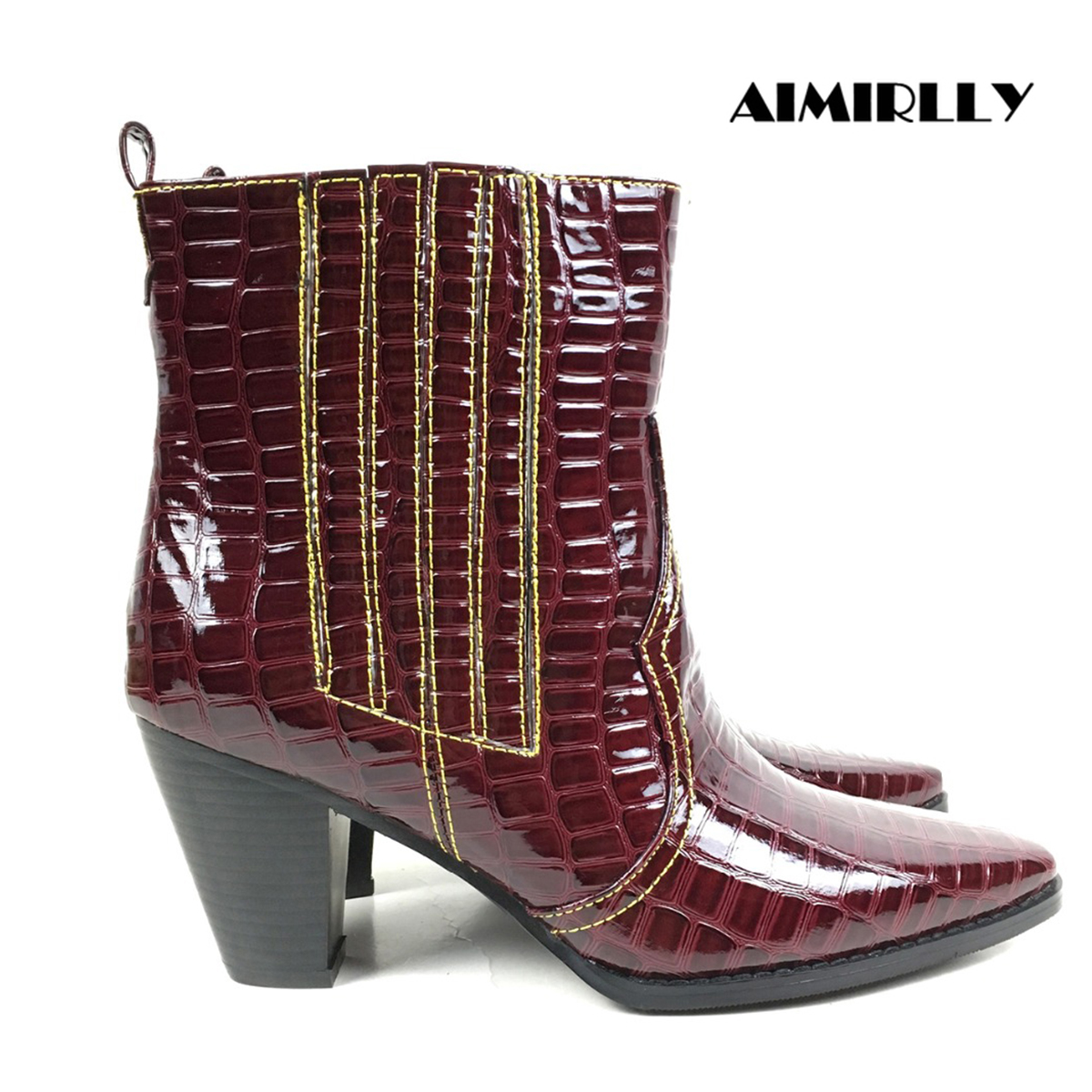 Aimirlly Women Ankle Boots Square toe Block Heel Crocodile Print Cowboy Booties Wine Red Winter Autumn