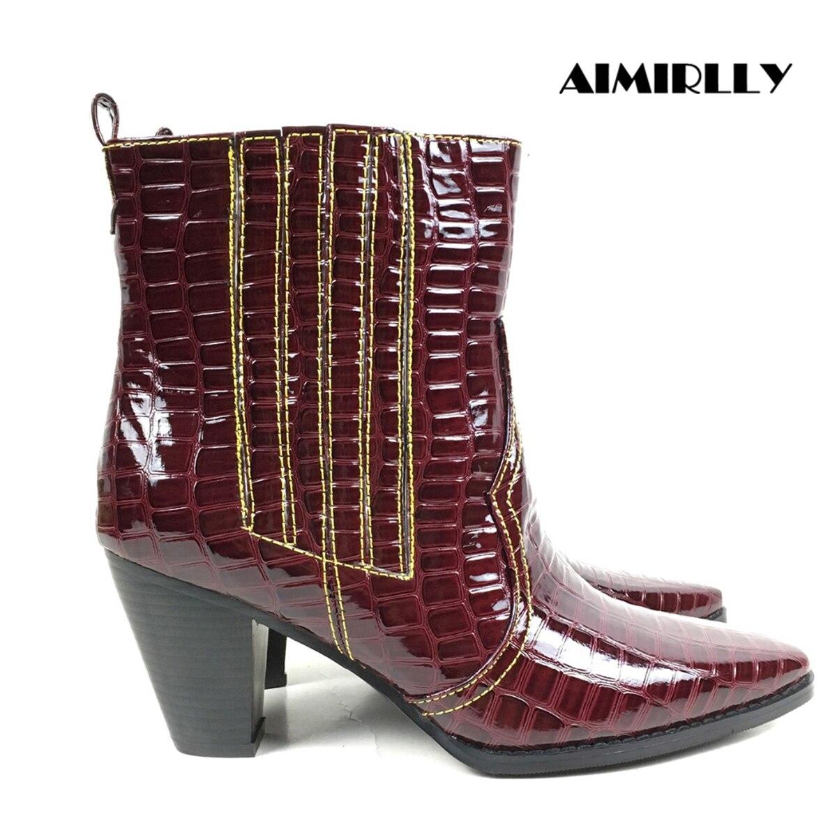 Aimirlly النساء حذاء من الجلد مربع اصبع القدم كتلة كعب التمساح طباعة كاوبوي الجوارب النبيذ الأحمر الشتاء الخريف Clubwear أحذية الحفلات-في أحذية الكاحل من أحذية على  مجموعة 1