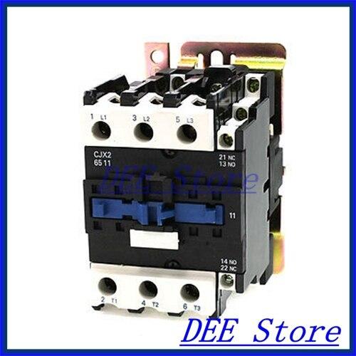 110V 50/60Hz Coil 3 Phase DIN Rail Mounting CJX2-6511 Type 1NO+1NC AC Contactor  замыкатель ux motor lc1d09 ac 110 50 60 3 nc