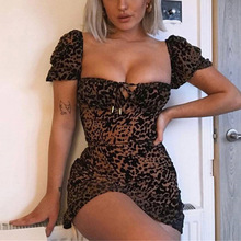 Sexy leopard print bodycon black dress Women puff sleeve mini short dress Summer lace up party club beach elegant dress embroidered puff sleeve bodycon mini dress
