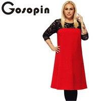 Gosopin Women Plus Size Lace Office Dresses Midi Elegant 2018 Spring Patchwork Yellow Dress Hollow Out
