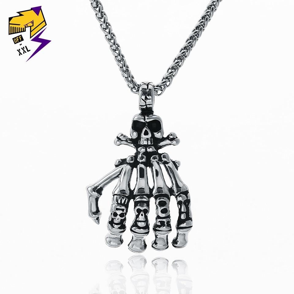 Steampunk Skeleton Finger Pendant Necklaces Vintage Skull Hand Silver Chains Biker Necklaces for Men Rock Roll Jewelry