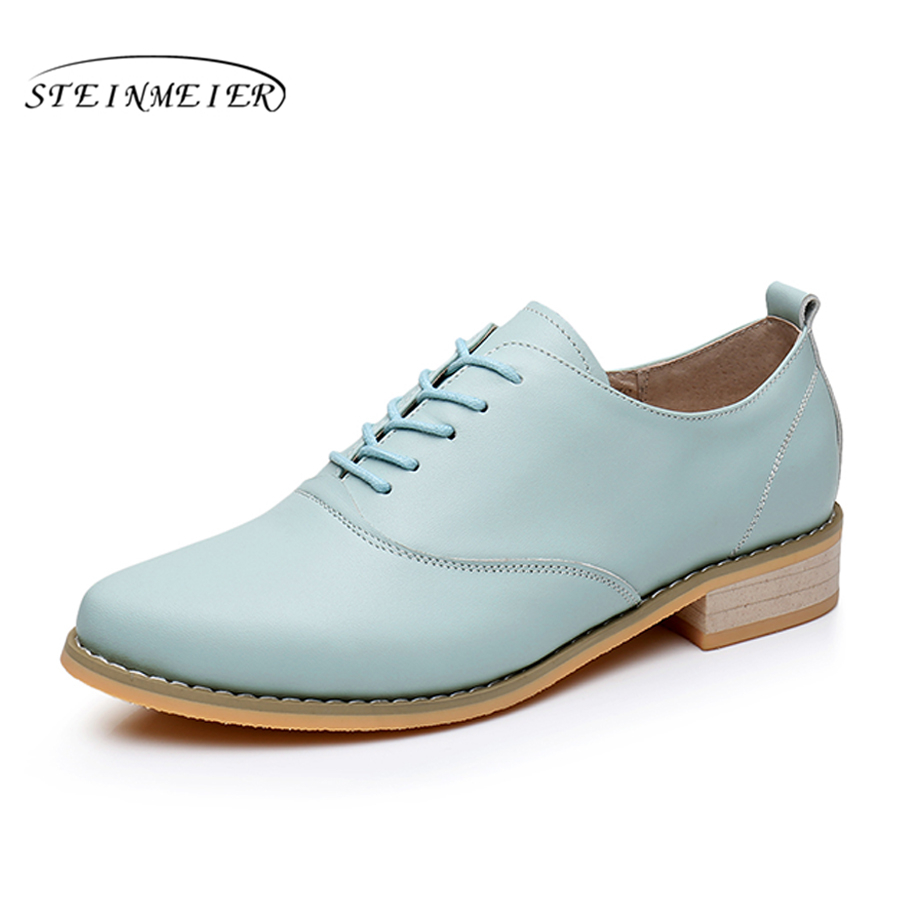100% Genuine cow leather brogue casual designer vintage lady flats shoes handmade oxford shoes for women brown blue grey yellow vintage designer 100
