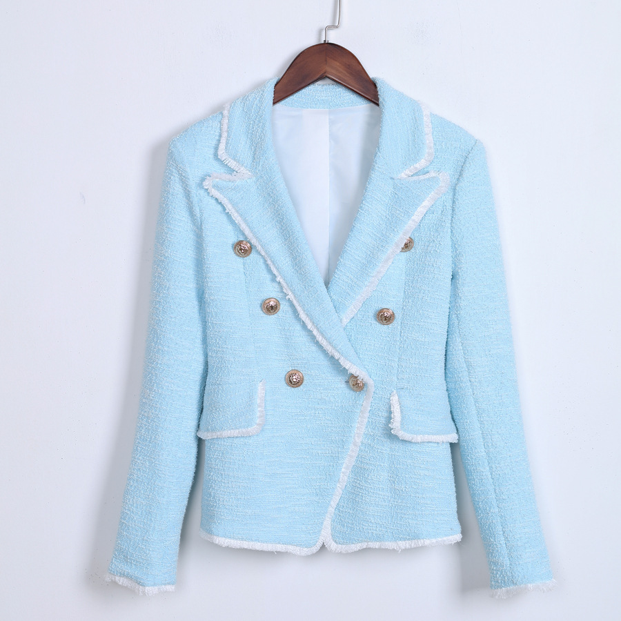 Metal Double Breasted Blazer Woman Spring Autumn 2019 New Fashion Fringe Burr Pockets Casual Long Sleeve Jacket Ladies Blazer