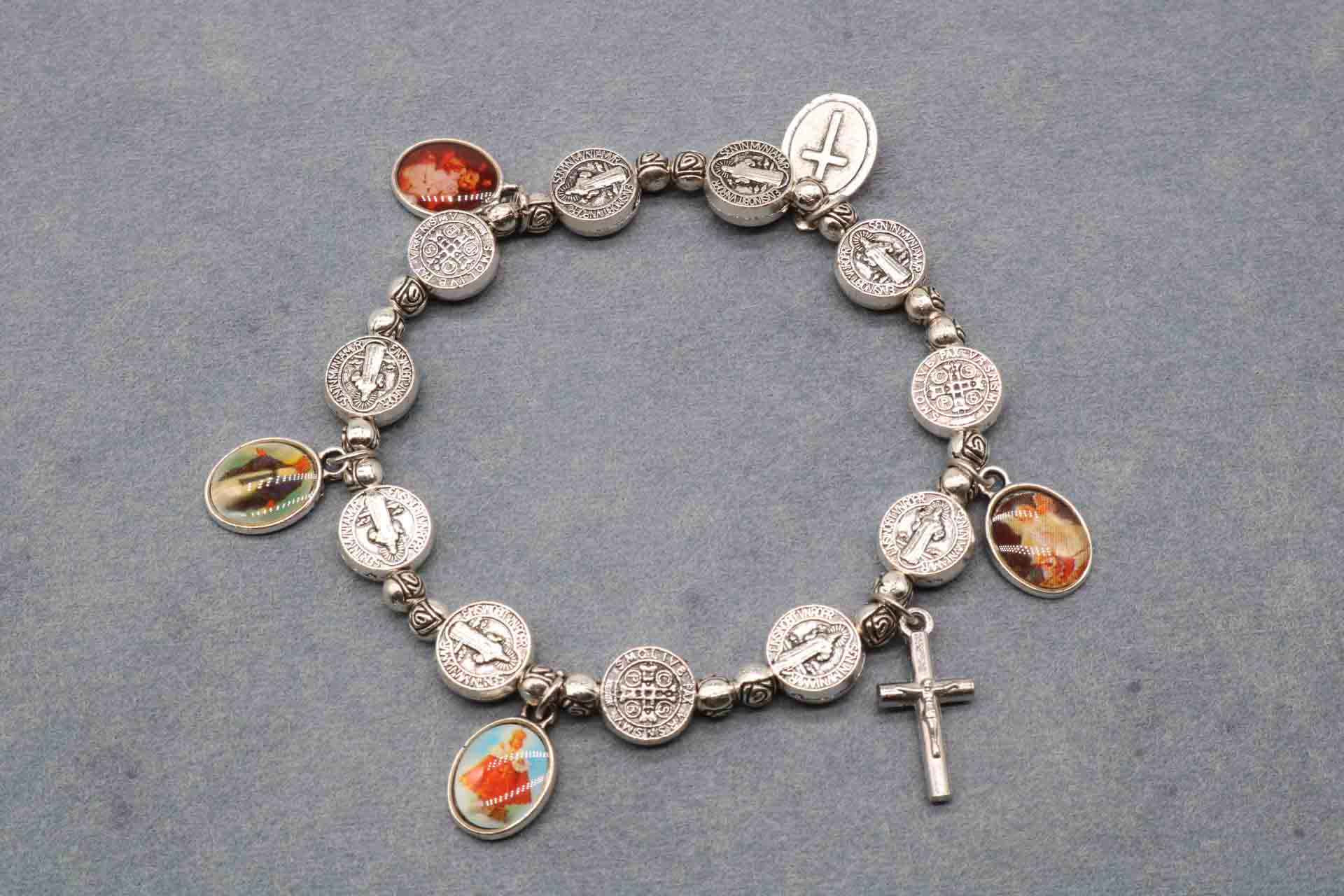 Rosary Beaded Bracelet, Jesus Christ Saint Benedict Mercy Prayer Bracelet, Christ Core Beaded Alloy Bracelet.
