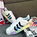 SexeMara fashio обувь superstar chaussure узелок Граффити мужская обувь повседневная Тренеры Zapatillas Hombre 2016 новый