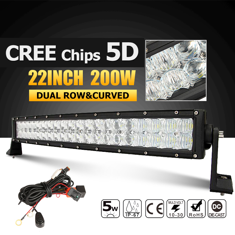 Oslamp 22 200W CREE Chips 5D LED Light Bar Curved Combo Led Work Light Bar Offroad 12v 24v Truck ATV SUV 4WD 4x4 Driving Lamp oslamp 5d 32 led light bar 300w cree chips offroad led work light bar combo beam 12v 24v truck suv atv 4x4 4wd led driving lamp