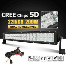 """Oslamp 22 """"200 W CREE Puces 5D LED Light Bar Courbe Combo Led Travail lumière Bar Offroad 12 v 24 v Camion ATV SUV 4WD 4×4 Conduite lampe"""